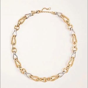 ANN TAYLOR Mixed Metallic Chain Necklace In Gold
